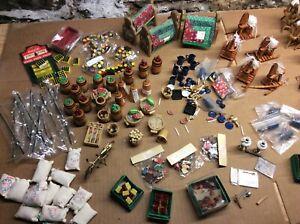 100 pcs+ Dollhouse Miniature Accessories pot metal cloth assorted fixtures etc.