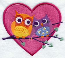 OWLS IN LOVE SET OF 2 BATH HAND TOWELS EMBROIDERED  BY LAURA