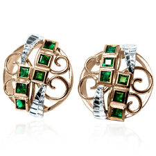 14k Rose & White Gold Genuine Princess Cut Emerald Russian Earrings #E1255