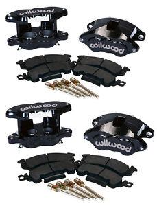"WILWOOD BIG GM BRAKE CALIPER,PAD SET W/PINS,BLACK,FRONT & REAR,1.28"" DISCS,D52"
