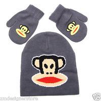 Paul Frank Julius Monkey Glue Prt Beanie Hat Mitten Gloves Grey Set Kids Boys