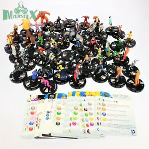 Heroclix lot of 50 DC figures with cards from various sets! Justice, Titans