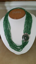 HANDMADE 7 STRAND GENUINE GREEN JADE MEDALLION NECKLACE BY LEIGHTON PEARLS