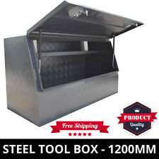 Steel Toolbox 1200mm Black Grey Checker Plate Ute Tool Box One Tonner ToolBox
