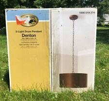 Hampton Bay Denton 3-Light Drum Pendant Antique Bronze Shade Frosted Diffuser