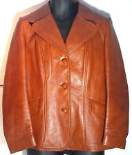 Vtg 1970s Brown Leather Jacket Car Coat Large Canada by Esprit