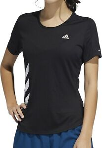 adidas Run It 3 Stripes Fast Short Sleeve Womens Running Top Black Training Tee
