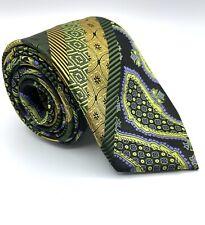 Henri Picard Green multi color multi Patterned 100% Silk Neck Tie Pre-owned