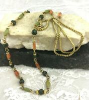 Vintage Long Single Strand Gold Tone Beaded Necklace Burnt Orange Green Tones