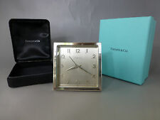 RARE 1950s TIFFANY & CO SWISS IMHOF ALARM CLOCK SOLID .925 STERLING SILVER CASE