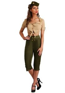 Women's Vintage Pin Up Soldier Military Costume SIZE M/L (with defect)