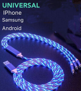 Universal LED Light-up Flashing USB Charging Cable Cord 3 in 1 Multi Function