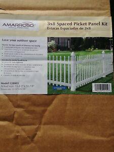 Amarroso 3' x 8' White Vinyl Spaced Picket Fence Panel Kit Free Shipping