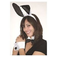 Sexy Deluxe Play Boy Naughty Bunny 5 Pc Costume Set Black White Ears Cuffs Tail