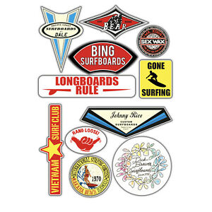 Surf stickers vintage design set 11x stickers woody endless summer