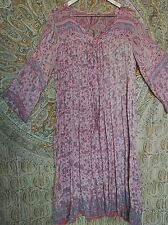 vintage Indian cotton gauze maxi dress pink Paisley free size