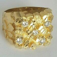 Big Mans solid 10k yellow Gold diamond cut  Nugget Ring Size 10 11 12 13