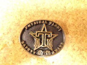 "Vintage Texas Belt Buckle ""Physical Plant Safety Award 1980-81 9D-69)Bin"
