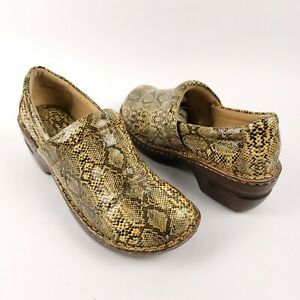 BOC Born Nurse Shoes Clogs Slip On Comfort Brown Shiney Snakeskin Women's Size 8