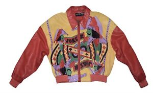 VERY RARE Vintage Pelle Pelle Marc Buchanan JOKER STUDDED Leather Jacket Men 40