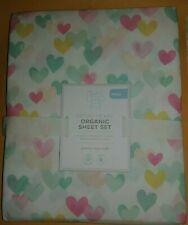 NEW Pottery Barn Kids FULL RETRO HEART Sheet Set Pastel Flat Fitted 2 Pillowcase
