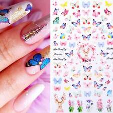 Rose Flowers Butterfly 3D Nail Stickers Red Nail Art Decals Decorations Tips ~