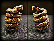 *SNAKE* UNIQUE HANDMADE Bronze Paracord Knife Leather Lanyard Bead / Beads