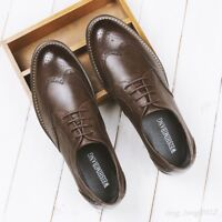 Hot Sale Mens British Brogue Shoes Lace Up Leather Dress Formal Wing Tip Oxfords