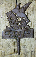 Cast Iron Hummingbird Crossing Sign Garden Stake Home Decor Pond Plaque