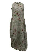 "BLUEBERRY ITALIA WOMEN'S SUMMER LINEN Flax DRESS GRAY FLORAL Xs bust 36"" NWT"