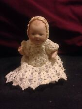 """Vintage Lace Gown and Cap on All Bisque 5"""" Bye-Lo Baby Reproduction Doll"""