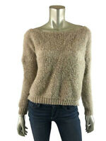 Cocogio Made in Italy M Sweater Crochet Knit Boatneck Pullover Top Wool Mohair