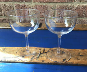Antique Victorian Glass PAIR Champagne Saucers or Coupes 19thC Ground Pontil