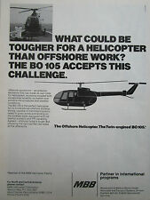 1/1981 PUB MBB HELICOPTERE BO 105 OFFSHORE HELICOPTER HUBSCHRAUBER ORIGINAL AD