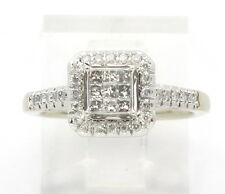 Diamond Cluster Engagement/Right Hand Ring .57ct 14k White Gold Princess & Round
