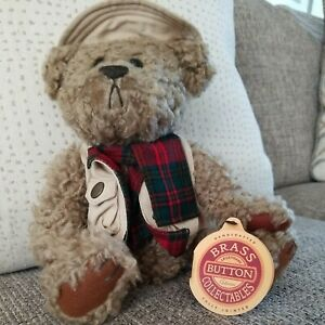 """🧸1997 Brass Buttons Bear Tanner Plush 12"""" Fishing Vest & Hat, Plaid Scarf, NWT"""