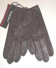 Ladies Women's Genuine Leather Perforated Driving Gloves, Brown, Medium