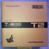 Hot Toys 1/6 DX13 Terminator T2 T-800 Battle Damaged Special T1000 Head Open New