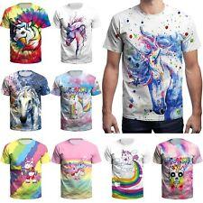 Men's 3D Printed Rainbow T-shirts Slim Fit Short Sleeve Funny Tee Tops
