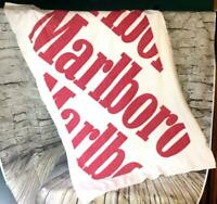 VINTAGE LARGE MARLBORO CIGARETTES BEACH TOWEL RED WHITE USA ADVERTISING