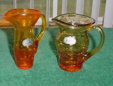2 Vintage Rainbow Hand Blown Crackle Glass w label Pitchers West  Virginia USA