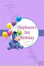 Personalised Eeyore Birthday Gift Bag Noodle box Sticker Label 8 Per Page