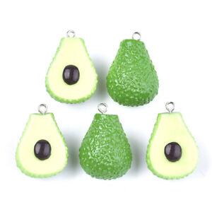 10pc Green Resin Avocado Pendants Cute Mini Dangle Charms Jewelry Making 29~31mm