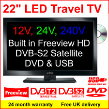 22″ 12V,  Motorhome Travel TV with DVD, Freeview, DVB-S2 Satellite Receiver, USB