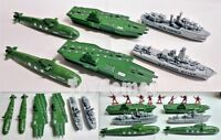 6 pcs Military Aircraft Carrier Submarine Ship Toy Soldier Army Men Accessories