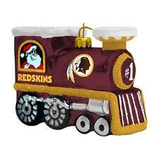 Washington Redskins Glass Train Ornament With Santa On 1 Side, Rudolph On Other