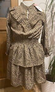Girls Lovely Animal Print Layered Dress. Aged 7/8yrs. Brand New