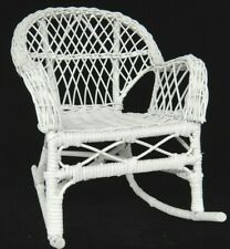 """Vintage Doll Furniture White Wicker Rocking Chair 11.5"""" Tall Great Condition"""