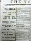 1865 NYC newspaper wth JUDAICA Jewish synagogues react to LINCOLN ASSASSINATION