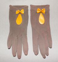 Vintage Elayne Ladies Dress Gloves Taupe Brown Nylon Yellow Inserts One Size USA